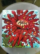 Encaustic red flower LJones